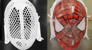 Radiation masks before (all white blank masks) and after - painted in the image of Spiderman.